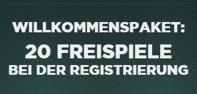Freispiele für Registrierung